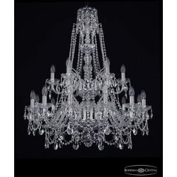 Люстры Большие Bohemia Ivele Crystal Люстра хрустальная 1411/12+6/300/XL-99/2d Ni