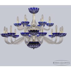 Bohemia Хрустальная люстра 1308/12+6/360/2d G Cl/Clear-Blue/H-1I