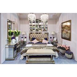 Bohemia Empir Style Кровать с зеркальными вставками (бежевая)