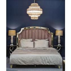 Bohemia Empir Style Кровать двуспальная с зеркальными вставками (розово-серая)