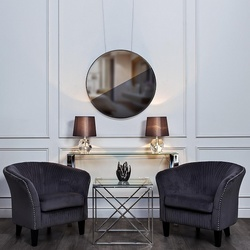 Bohemia Empir Style Столик журнальный квадратный с прозрачным стеклом (цвет хром)