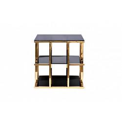 Bohemia Empir Style Стол журнальный с черным стеклом (золотой)