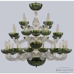 Bohemia Ivele Crystal Хрустальная люстра 1309/16+8+4/300/3d G Cl/Clear-Green/H-1J